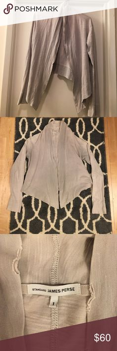 James Perse Drape Front Tie Cardigan 100% Slub Supima Cotton / Distressed Edges / Good Condition **Make an Offer** James Perse Sweaters Cardigans