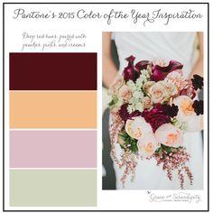 grace and serendipity - marsala inspiration board - burgundy, peach, pink green wedding