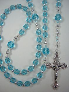 """Rosary Women's Catholic 6mm and 8mm Aqua Czech Glass 19 3/4"""" March Bithstone Las Mujeres Rosario Free Shipping USA by TheGemBeadLink on Etsy"""