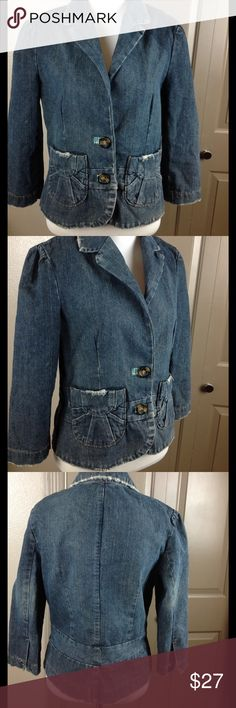 Lux Blazer Jean Jacket Large fits like Medium Great condition distresses 2 front pockets faux tortoise buttons 3/4 sleeves 100% cotton machine wash fits more like medium 22 inch length 18 bust Lux Jackets & Coats Blazers