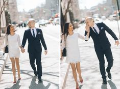 Couple walk to the marriage bureau before their wedding ceremony. Captured by NYC City Hall wedding photographer Ben Lau.