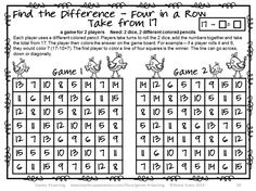 Subtraction Games NO PREP Find the Difference 26 games for 2 players - Just print and play $