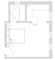 멋진 원룸 디자인 이것만 기억하자. 시드니 Darlinghurst 지역 27제곱미터(약 8평) 소형 아파트 - 주거 문화 미디어, PHM ZINE Studio Apartment, Maps, Bathrooms, Floor Plans, Layout, Architecture, Arquitetura, Studio Apt, Blue Prints