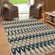 Reinforce your southwestern style by decorating your indoor or outdoor room with the Orian Rugs Southwest Links Vibrant Ikat Indoor/Outdoor Area Rug. This plush area rug features a geometric stripe pattern in shades of beige and blue. Rug Direct, Indoor Outdoor Area Rugs, Target Rug, Rugs, Indoor Outdoor Rugs, Ikat, Orian Rugs, Colorful Rugs, Area Rugs