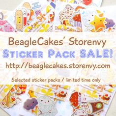 Selected sticker packs are on sale (limited time only). Click on the image to be direction to BeagleCakes' Storenvy shop! <3  http://beaglecakes.storenvy.com/collections/583156-stickers