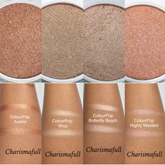 Colourpop Highlighter swatches in Avalon, Wisp, Butterfly Beach, and Highly Waisted.