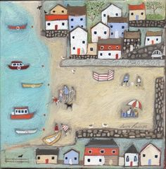 Little Bay Print by Louise Rawlings Costa, Different Forms Of Art, Poster Prints, Art Prints, Posters, Naive Art, Art For Art Sake, Beach Art, New Artists