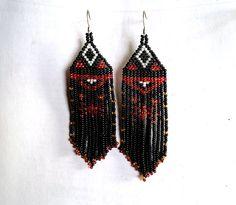Native American Beaded Earrings Inspired. White Red Black