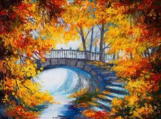 flower oil painting: Oil Painting - autumn forest with a road and bridge over the road, bright red leaves