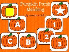 Pumpkin Patch Matching - alphabet; numbers; shapes; colors; special education; autism; Kindergarten; Pre-school.
