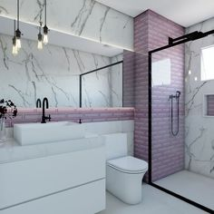 Thrill Your Visitors with These 14 Charming Half-Bathroom Designs Bathroom Design Inspiration, Modern Bathroom Design, Bathroom Interior Design, Bathroom Designs, Dream Home Design, House Design, Purple Bathrooms, Girl Bedroom Designs, Bathroom Renos