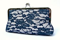 Lace bridal clutch bag something blue navy by ConstanceHandcrafted, $55.00