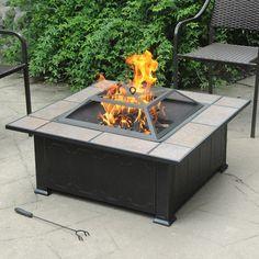 Ceramic Tile Top Fire Pit Black Antique Bronze Outdoor Patio Fireplace NEW #FirePit