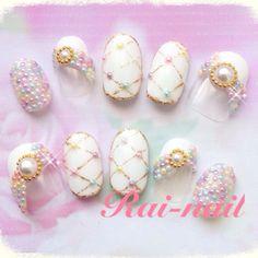 ネイル 画像 Rai-nail 319451 ホワイト パール ブライダル チップ ハンド