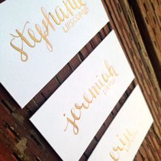 Wedding Place Cards - Escort Card - Gold or Black Calligraphy  www.etsy.com/shop/FullyMade