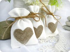 Wedding favor bags White Rustic Linen Wedding Favor Bag with natural linen hearts or Candy Buffet