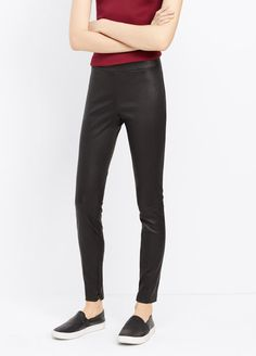 Leather Legging with Ankle Zip | Vince