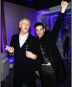 Rami Malek with the legendary Paul McCartney ✨ this picture is stunning 💘 Paul Mccartney, Ben Hardy, We Will Rock You, Queen Band, John Deacon, English, Photos Du, Music Stuff, It Cast