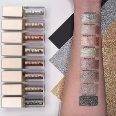 Your ⭐️Glitter & Glow⭐️ swatches are giving us L✨I✨F✨E! Friday ... time to GLITTER. Which hue are you wearing out tonight?! : @theglamwoman [ to buy - click the #linkinbio & select this image to shop] #stilaglitter Top to bottom: ✨Diamond Dust ✨Kitten Karma ✨Rose Gold Retro ✨Bronzed Bell ✨Smoldering Satin ✨Smoky Storm ✨Molten Midnight ✨Ballet Baby (not shown) ✨Violet Vixen (not shown)