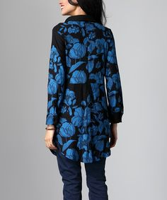 Look what I found on #zulily! Black & Blue Floral Split Button-Back Tunic #zulilyfinds