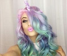 Unicorn inspired hair and makeup. So pretty.