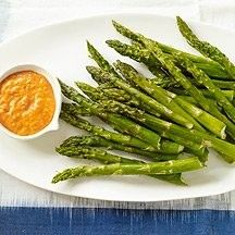 Roasted Asparagus with Red Pepper Sauce WW SP= 1, Srving=6.  Ingred:  2 lbs asparagus, 1 tsp olive oil, ¼ tsp salt, ⅛ tsp pepper, 7 ½ oz jar roasted red peppers (in water), ¼ cup light mayo, 1 clove garlic, ½ tsp smoked paprika.  Instr: On baking sheet, drizzle asparagus with olive oil, toss.  Sprinkle w salt & pepper. Roast in 425ºF oven, shaking pan while cooking, until fork-tender (10-15 min).  Nezt, drain & pat dry peppers.  Process peppers & remaining ingred in food processor until…
