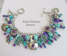 Schaef Designs Turquoise & amethyt Native American Charm Bracelet with Santa Domingo & Navajo charms | New Mexico