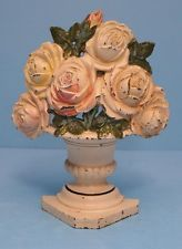 Antique Roses in Urn Flowers Cast Iron Hubley Doorstop