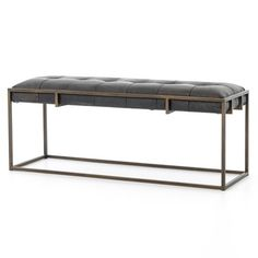 "Oxford Tufted Vintage Black Leather Bench 43"" with Brass Legs 