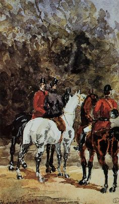 Horsemen Riding in the Bois de Boulogne - Henri de Toulouse-Lautrec - WikiArt.org