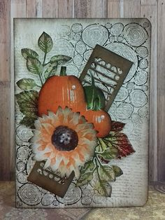 Stamp-ing: 'Painted Harvest', 'Gourd Goodness' én 'Detailed Gate Thinlits' van Stampin'Up!