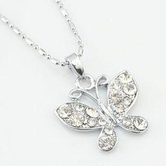 Argent papillon forme collier en cristal