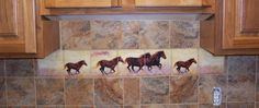 horse decorated kitchen | Horse Murals Kitchen Tile Backsplashes of Horses - Horses Tiles