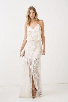 vestido longo mix texturas