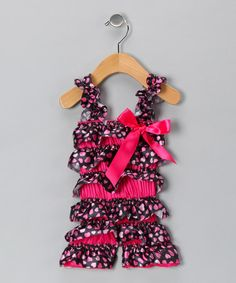Take a look at this Hot Pink Heart Satin Romper - Infant & Toddler by Just For Girls on #zulily today!