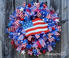 American Flag Deco Mesh Wreath, Patriotic Mesh Wreath, Red White Blue, Stars, July 4th, Memorial Day, Independence Day, USA Decor, Wreath by AllSeasonsCT on Etsy Flag Wreath, Patriotic Wreath, 4th Of July Wreath, Autumn Wreaths For Front Door, Wreaths For Sale, Military Wreath, Dollar Tree Halloween, Displaying The American Flag, Memorial Day Wreaths
