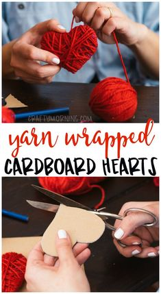 Yarn Wrapped Cardboard Hearts - #Cardboard #Hearts #Wrapped #Yarn