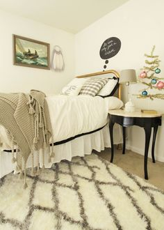 Eclectic Neutral Christmas Guest Room