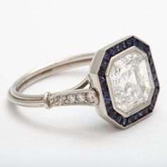 Art Deco emerald/asscher ring with sapphires. Engagement Ring Images, Antique Engagement Rings, Diamond Engagement Rings, Art Deco Jewelry, Fine Jewelry, Jewelry Design, Jewellery Rings, Antique Jewelry, Vintage Jewelry