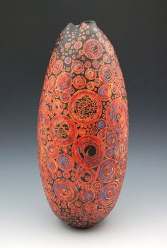 "Melanie Ferguson 17"" tall, handbuilt stoneware, fired ∆04. Layered underglazes on leatherhard with glazes, handrubbed beeswax finish. ©2010 MFerguson"
