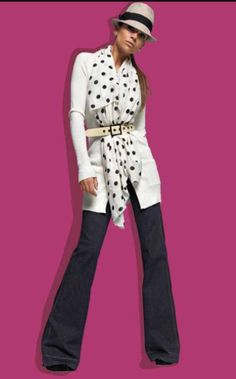 Jeans a zampa e foulard a pois Denny Rose Denny Rose, Rose Clothing, Work Attire, Wide Leg Jeans, Flare Jeans, Bell Bottoms, Women Wear, Dresses For Work, Fashion Outfits