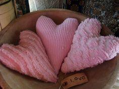 3 Big Vintage Chenille Valentine Heart Bowl FIllers