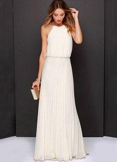 White Floor-Length Chiffon Bridesmaid Dress for Woman