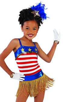 11481 - Yankee Doodle - Be patriotic in this red, white and blue striped foil leotard with gold fringe skirt.