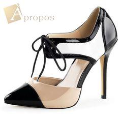 High Heels Pumps 11,5cm D'Orsay Stilettos Abendschuhe Schnürung Italy Lack Beige