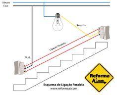 Esquema de Ligação Elétrica em Paralelo Mais #instalacaoeletrica #esquema #acendimento