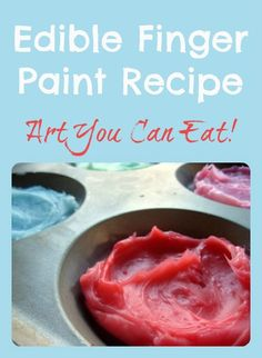 Edible paint: homemade finger paint, perfect for babies and toddlers. Ever tried home-made paint? Craft Activities For Kids, Infant Activities, Projects For Kids, Crafts For Kids, Sensory Activities, Edible Finger Paints, Edible Paint, Toddler Art, Toddler Crafts