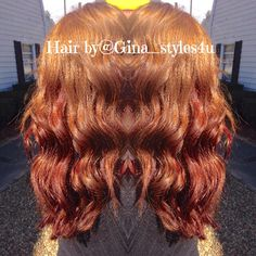 Red copper mahogany colormelt balayage hair color curls waves long hair fall autumn colors  hair by @Gina_styles4u on Instagram
