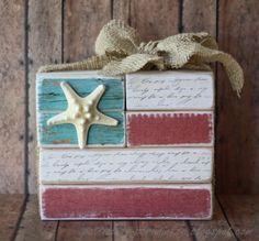 Flag Blocks, love the starfish & burlap