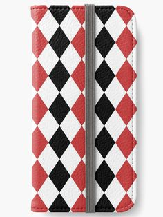 'Red, black, white, rhombus pattern, geometric design' iPhone Wallet by cool-shirts